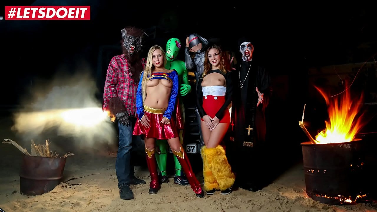 LETSDOEIT – Halloween party goes out of control – Lullu Gun and Lena Nitro seduced by the Big Bad Wolf, a zombie and two sculls